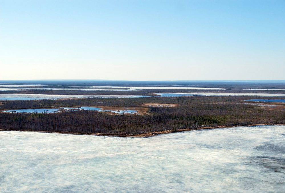 The Peel in June demonstrating just how late ice cover is present on the landscape. The photographed area is a wetland complex in the northeast corner of the Planning Region from the Taiga Plains portion of the watershed where Ducks Unlimited Canada has determined it to be important waterfowl habitat.