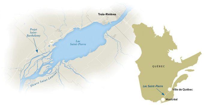 Location du project Saint-Barthelemy et lac Saint-Pierre