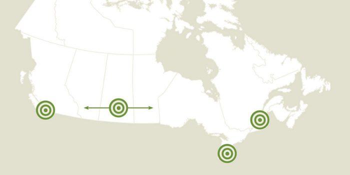 Locations des récents projets de CIC approuvés et financés grâce à la vente de timbres canadiens consacrés aux canards
