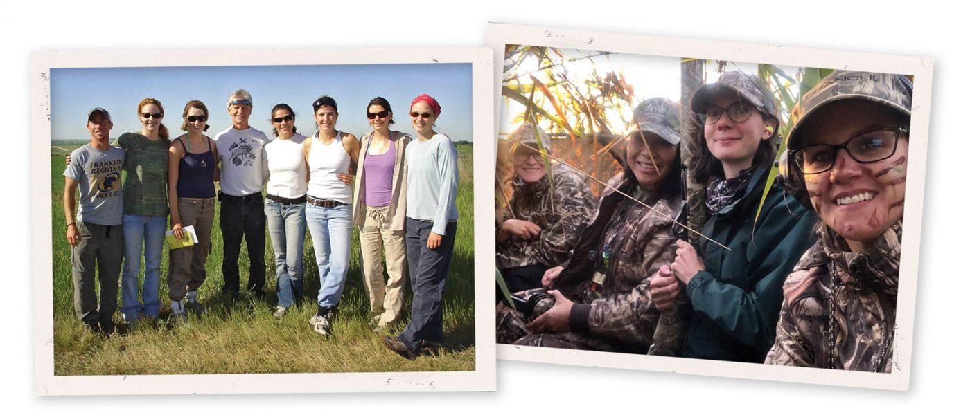 Photo à gauche: Bob Clark (au centre) et l'équipe de chercheurs sur le terrain de l'été 2008, dont Lauren et Vanessa Harriman (deuxième à partir de la gauche), scientifique conservationniste de CIC.  Photo à droit:  Lauren Rae (à droit), biologiste de la conservation nationale, et Lauren Bortolotti admirent un coucher de soleil sur les Prairies à partir d'un affût avec les mentors de l'équipe des sauvaginières Ladyfowlers, à l'occasion d'une expédition de chasse à l'oie à l'automne.